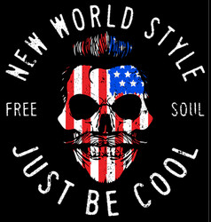 hipster skull with usa flag vector image