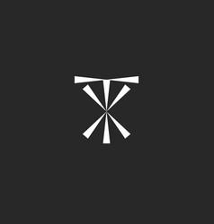 initials tx logo mockup typography xt emblem vector image