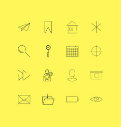 Interface linear icon set simple outline icons vector