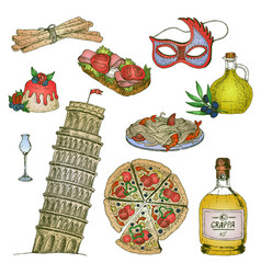 italy colorful elements set vector image