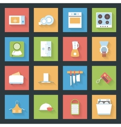 Kitchen flat icons set vector image