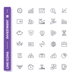 Line icons set investment 1 vector