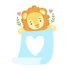 lion with blue parchment sticker template vector image