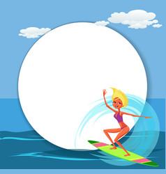 lovely happy cartoon girl surfing in blue ocean vector image