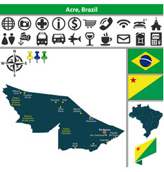 Map of acre brazil vector