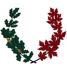 Maple and oak wreath vector