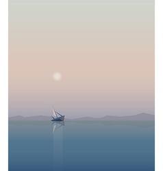 Minimalist ocean sunrise vector
