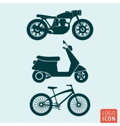 Motorcycle scooter bicycle icon isolated vector