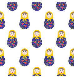 Nesting doll matryoshka seamless pattern vector
