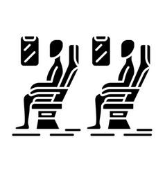 passengers at plane salon glyph icon vector image