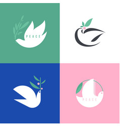 peace dove with olive flat style icon or logo vector image