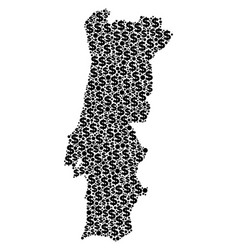 Portugal map gdp mosaic of dollar and dots vector