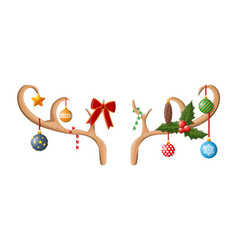 reindeer antler with balls bow holly vector image