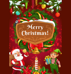 santa and christmas elf with gifts and xmas wreath vector image