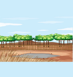 Scene with dried grass and pond vector
