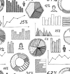 Seamless pattern of hand-drawn infographic vector image