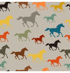 Seamless pattern with horse running in flat style vector