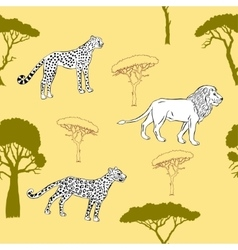 Seamless pattern with savanna animals-03 vector image vector image