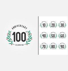 set of anniversary logotype with laurel wreath vector image