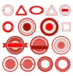 Set of badges labels and stickers in red vector image