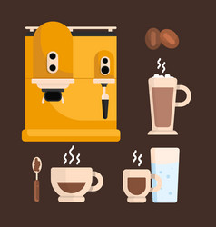 set of coffee cup and coffee beans vector image