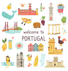 Set portuguese icons landmarks elements animals vector