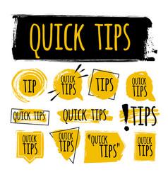 Set quick tips badge helpful tricks sticker vector