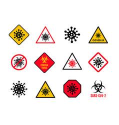 set warning and danger sign with coronavirus vector image