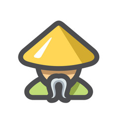 shaolin monk men icon cartoon vector image