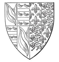 shield john de hastings are impaling france vector image