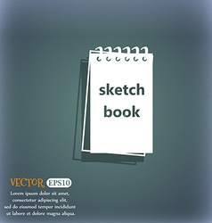 Sketchbook icon On the blue-green abstract vector image