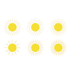 sun set yellow colored on a white background vector image