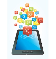 tablet computer concept with colorful icons vector image