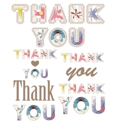 thank you vintage words vector image