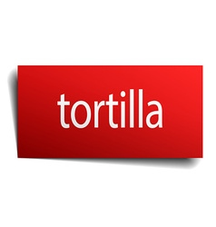 Tortilla red paper sign on white background vector
