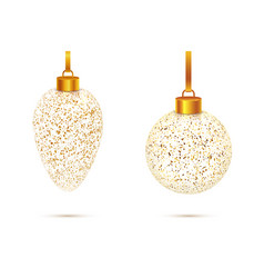 transparent christmas glass balls with golden dust vector image