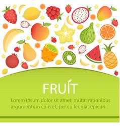 tropical fruits banner summer background vector image