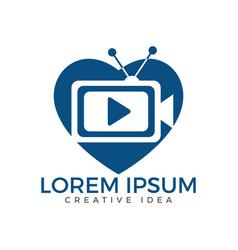 tv media heart shape logo design vector image