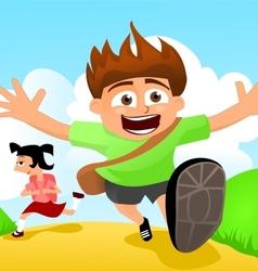 Two happy kids running to school vector image