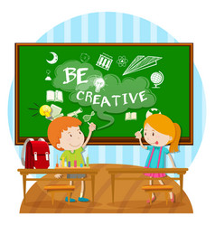 Two kids writing on board in classroom vector
