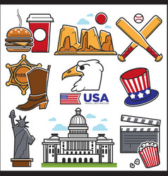 Usa america culture and amercian travel landmarks vector