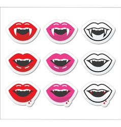 Vampire mouth vampire teeth labels set vector image