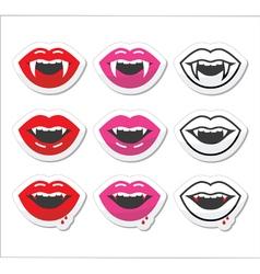 Vampire mouth vampire teeth labels set vector