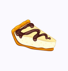 Vanilla cheesecake with chocolate topping isolated vector