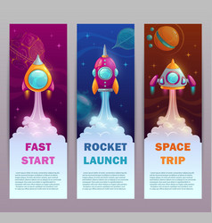 Vertical space banners set vector