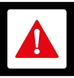Warning flat red and white colors rounded button vector image
