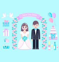 wedding set on blue background vector image