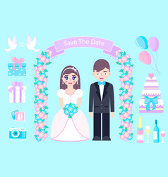 wedding set on blue bckground vector image