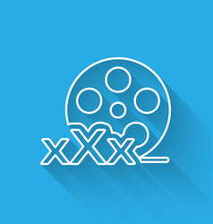 White line film reel with inscription xxx icon vector
