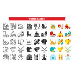 winter outdoor sport line glyph flat icon set vector image
